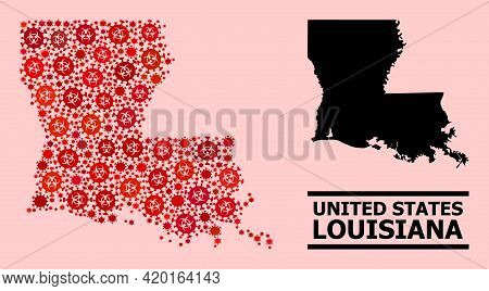Vector Coronavirus Mosaic Map Of Louisiana State Constructed For Clinic Purposes. Red Mosaic Map Of