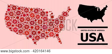 Vector Covid-2019 Collage Map Of Usa Combined For Doctor Projects. Red Mosaic Map Of Usa Is Designed