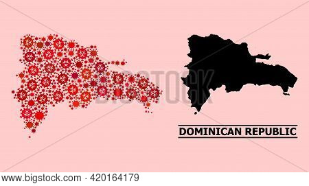 Vector Covid-2019 Collage Map Of Dominican Republic Designed For Doctor Applications. Red Mosaic Map