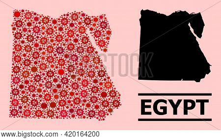 Vector Covid-2019 Mosaic Map Of Egypt Constructed For Clinic Posters. Red Mosaic Map Of Egypt Is For