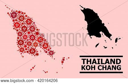 Vector Covid Collage Map Of Koh Chang Designed For Pandemic Applications. Red Mosaic Map Of Koh Chan
