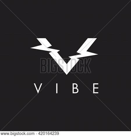 Letter V Initial. Vibe Concept Symbol Vector