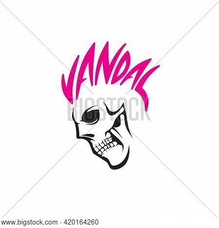 Vandal Skull Vector Illustration. For Tshirt Printing, Logo, Poster Or Any Other Purpose.