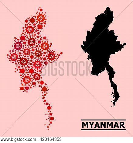 Vector Coronavirus Mosaic Map Of Myanmar Created For Medicare Illustrations. Red Mosaic Map Of Myanm