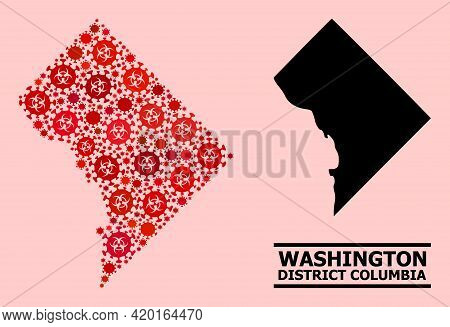 Vector Covid Mosaic Map Of District Columbia Created For Lockdown Wallpapers. Red Mosaic Map Of Dist