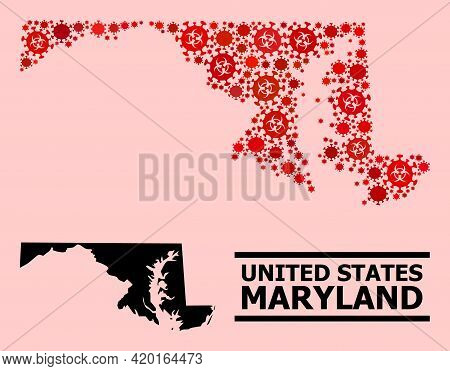 Vector Coronavirus Mosaic Map Of Maryland State Constructed For Pharmacy Applications. Red Mosaic Ma