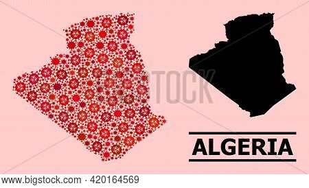Vector Coronavirus Mosaic Map Of Algeria Constructed For Vaccination Purposes. Red Mosaic Map Of Alg