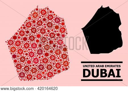 Vector Covid-2019 Composition Map Of Dubai Emirate Constructed For Hospital Illustrations. Red Mosai