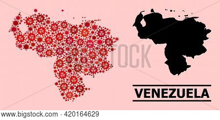 Vector Covid-2019 Mosaic Map Of Venezuela Combined For Pandemic Illustrations. Red Mosaic Map Of Ven
