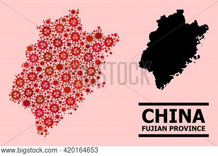 Vector Covid-2019 Mosaic Map Of Fujian Province Designed For Hospital Applications. Red Mosaic Map O