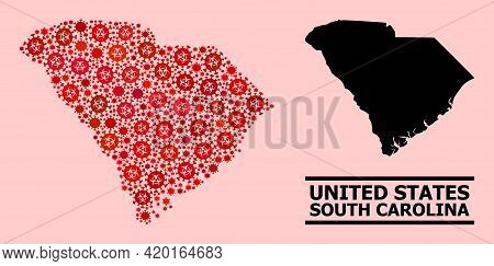 Vector Covid-2019 Mosaic Map Of South Carolina State Designed For Hospital Purposes. Red Mosaic Map