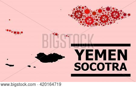 Vector Covid-2019 Mosaic Map Of Socotra Archipelago Done For Pharmacy Wallpapers. Red Mosaic Map Of