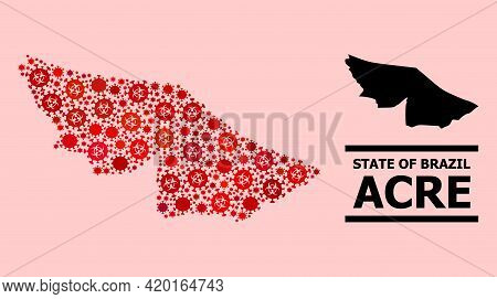 Vector Covid-2019 Mosaic Map Of Acre State Organized For Vaccination Illustrations. Red Mosaic Map O