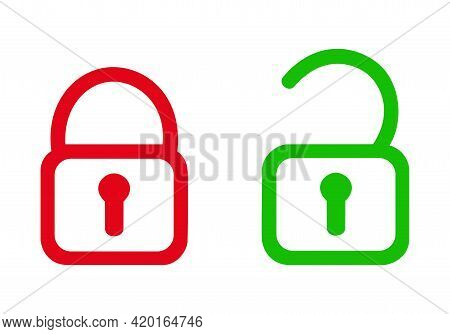 Open Padlock And Closed Padlock Icon. Red And Green With White Background.
