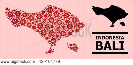 Vector Covid-2019 Mosaic Map Of Bali Island Designed For Pandemic Applications. Red Mosaic Map Of Ba