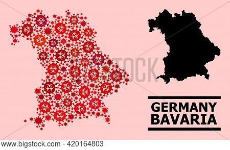 Vector Covid-2019 Collage Map Of Bavaria State Constructed For Medicare Advertisement. Red Mosaic Ma