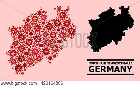 Vector Covid-2019 Mosaic Map Of North Rhine-westphalia State Designed For Pharmacy Purposes. Red Mos