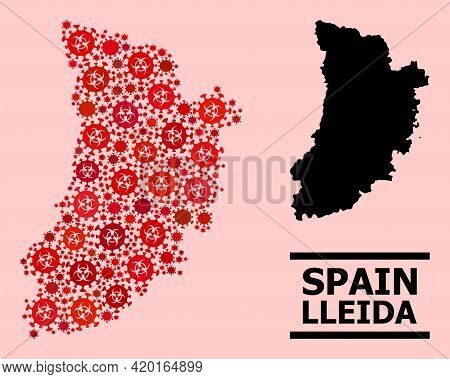 Vector Covid-2019 Mosaic Map Of Lleida Province Created For Health Care Applications. Red Mosaic Map