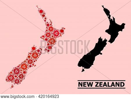 Vector Covid Mosaic Map Of New Zealand Done For Lockdown Purposes. Red Mosaic Map Of New Zealand Is