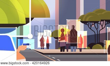 Detection And Identification Of People And Cars On City Street Roads Facial Recognition Ai Analyze B