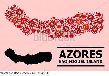 Vector Covid Mosaic Map Of Sao Miguel Island Constructed For Clinic Applications. Red Mosaic Map Of