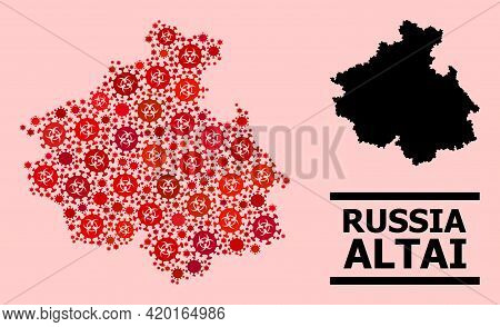 Vector Covid-2019 Composition Map Of Altai Republic Constructed For Health Care Projects. Red Mosaic