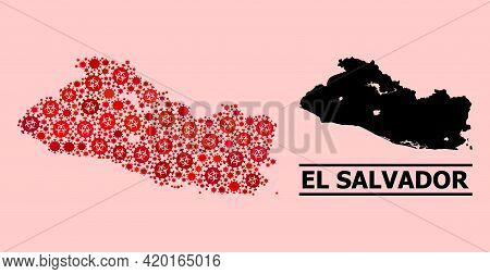 Vector Covid-2019 Composition Map Of El Salvador Done For Vaccination Projects. Red Mosaic Map Of El