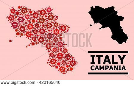 Vector Coronavirus Composition Map Of Campania Region Combined For Vaccination Wallpapers. Red Mosai