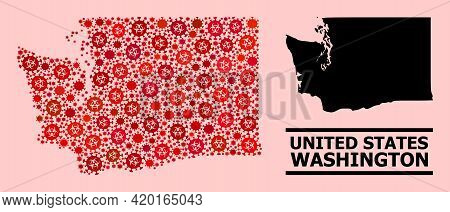 Vector Covid-2019 Mosaic Map Of Washington State Created For Lockdown Advertisement. Red Mosaic Map