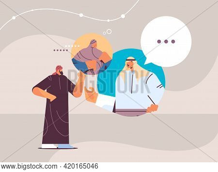 Arab People Chatting In Messenger Or Social Network Chat Bubble Communication Online Instant Messagi