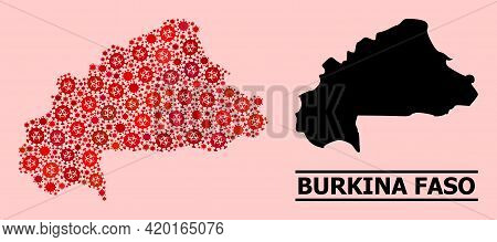 Vector Covid-2019 Mosaic Map Of Burkina Faso Designed For Hospital Illustrations. Red Mosaic Map Of