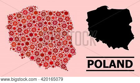 Vector Covid-2019 Mosaic Map Of Poland Created For Hospital Advertisement. Red Mosaic Map Of Poland