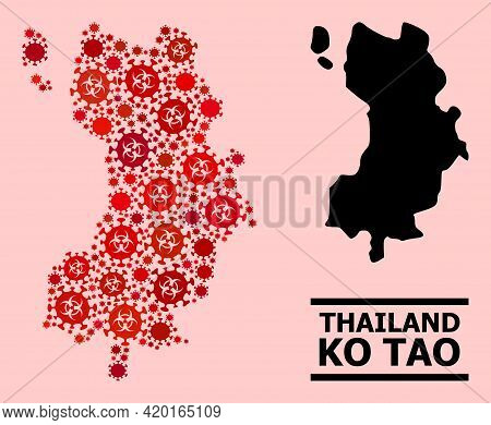 Vector Coronavirus Composition Map Of Ko Tao Created For Pharmacy Illustrations. Red Mosaic Map Of K