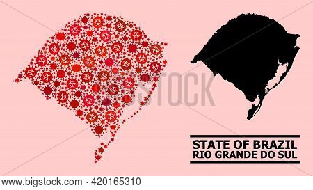 Vector Covid Mosaic Map Of Rio Grande Do Sul State Designed For Pandemic Advertisement. Red Mosaic M