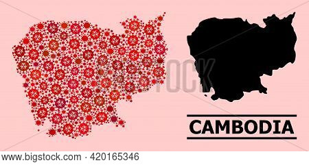 Vector Covid-2019 Collage Map Of Cambodia Done For Doctor Applications. Red Mosaic Map Of Cambodia I