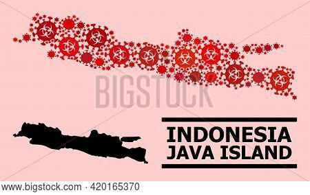 Vector Covid-2019 Mosaic Map Of Java Island Organized For Lockdown Purposes. Red Mosaic Map Of Java