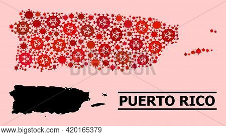 Vector Covid-2019 Collage Map Of Puerto Rico Designed For Medicare Purposes. Red Mosaic Map Of Puert