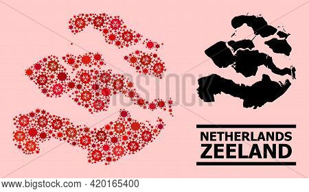 Vector Covid-2019 Mosaic Map Of Zeeland Province Combined For Pharmacy Projects. Red Mosaic Map Of Z