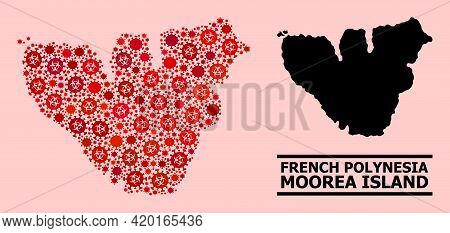 Vector Covid-2019 Mosaic Map Of Moorea Island Combined For Health Care Posters. Red Mosaic Map Of Mo