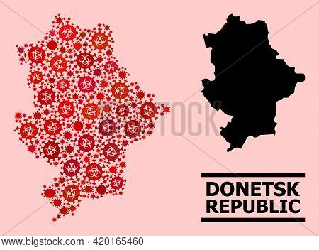 Vector Covid-2019 Composition Map Of Donetsk Republic Created For Medicare Illustrations. Red Mosaic