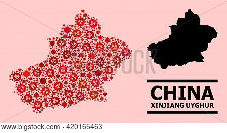 Vector Covid-2019 Mosaic Map Of Xinjiang Uyghur Region Organized For Clinic Purposes. Red Mosaic Map