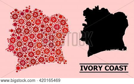 Vector Covid-2019 Mosaic Map Of Ivory Coast Combined For Vaccination Purposes. Red Mosaic Map Of Ivo