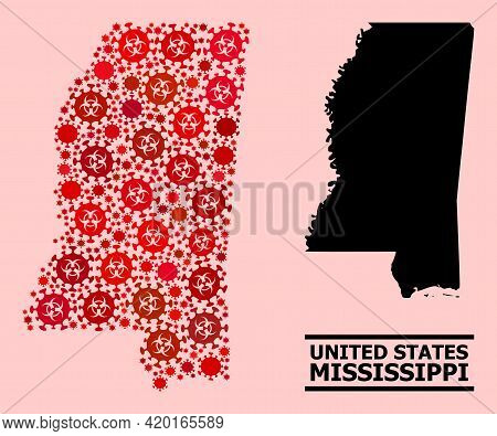 Vector Covid Mosaic Map Of Mississippi State Done For Lockdown Illustrations. Red Mosaic Map Of Miss