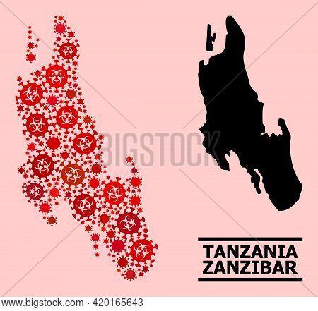 Vector Covid-2019 Mosaic Map Of Zanzibar Island Designed For Doctor Posters. Red Mosaic Map Of Zanzi