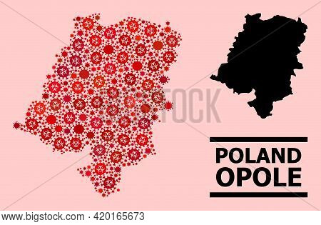 Vector Covid Mosaic Map Of Opole Province Done For Vaccination Advertisement. Red Mosaic Map Of Opol