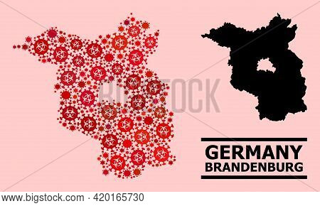 Vector Coronavirus Mosaic Map Of Brandenburg State Constructed For Medicare Advertisement. Red Mosai