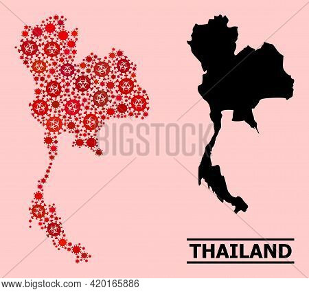Vector Coronavirus Mosaic Map Of Thailand Created For Health Care Advertisement. Red Mosaic Map Of T