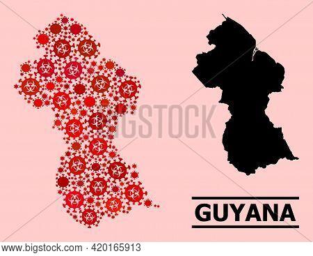 Vector Coronavirus Mosaic Map Of Guyana Combined For Pharmacy Applications. Red Mosaic Map Of Guyana