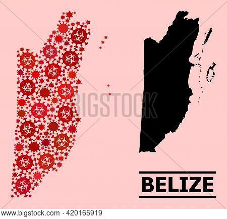 Vector Coronavirus Mosaic Map Of Belize Combined For Hospital Posters. Red Mosaic Map Of Belize Is F