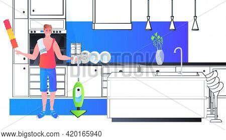 Father Using Vacuum Cleaner And Dust Brush Man Cleaner Doing Housework Cleaning Housekeeping Concept